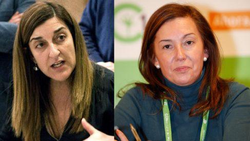 María José Sáenz de Buruaga y María José González Revuelta, presidenta y secretaria general del PP de Cantabria.