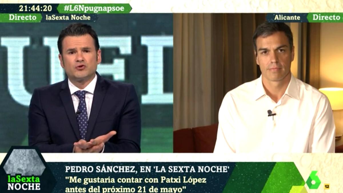 Pedro Sánchez durante la entrevista concedida a La Sexta Noche.