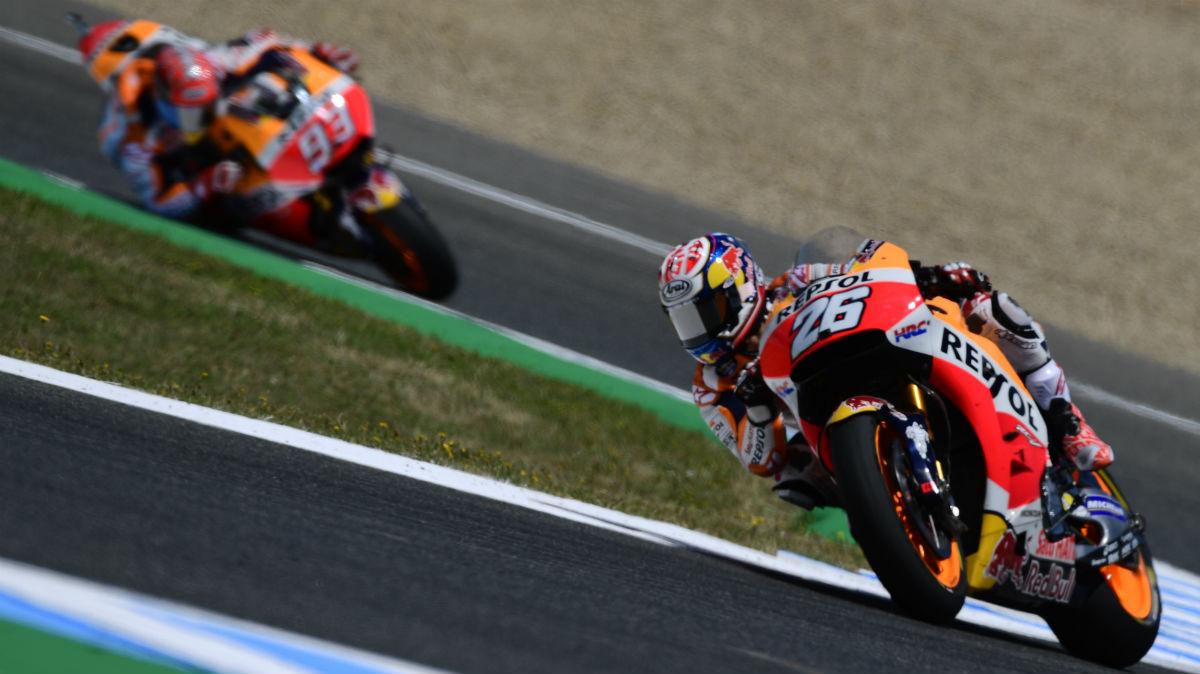 Pedrosa y Márquez, en el circuito de Jerez. (AFP)