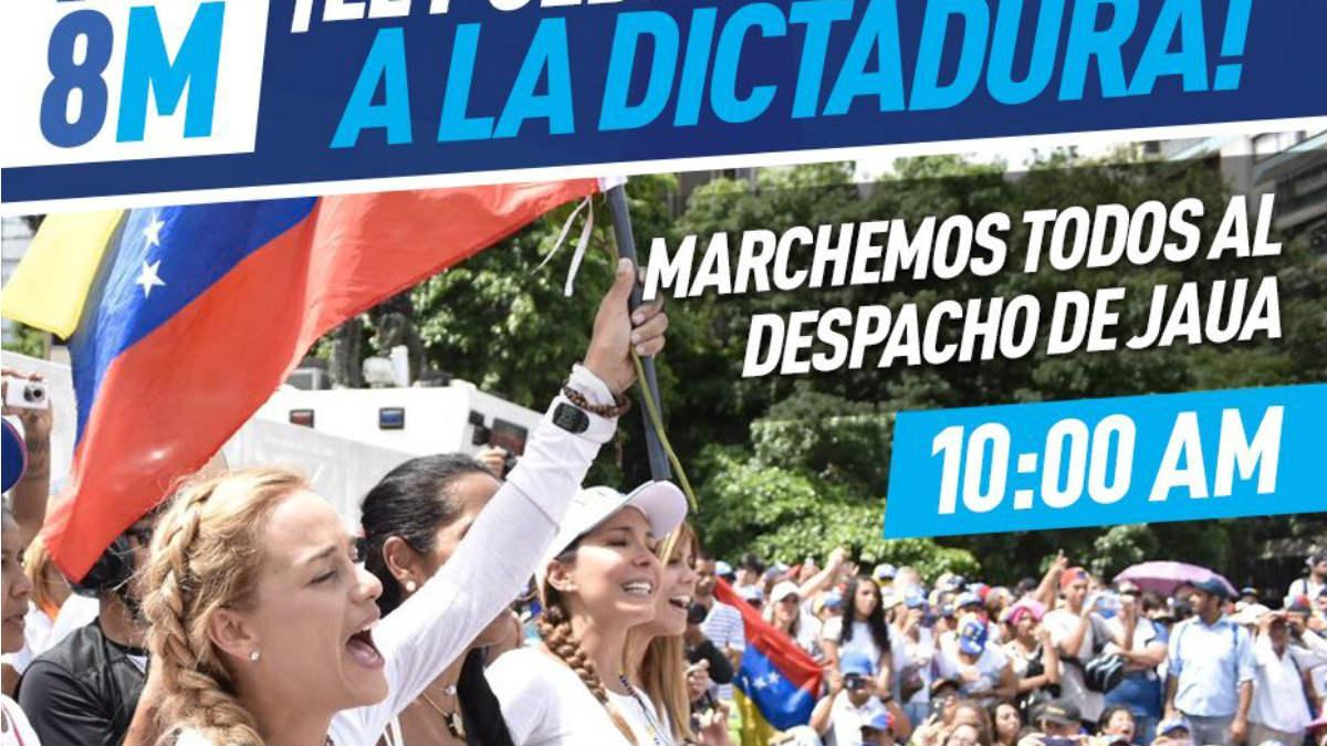 Cartel de la convocatoria de la marcha hacia el despacho del ministro deEducación de Venezuela, Elías Jaua.
