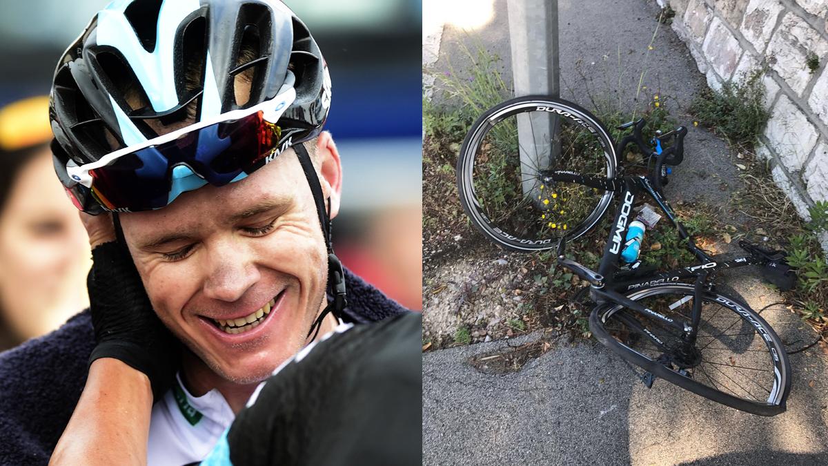 Chris Froome y el estado de su biciclieta tras el atropello. (Fotos: AFP/Twitter)