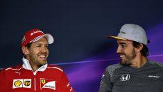 Sebastian Vettel y Fernando Alonso en rueda de prensa Getty)