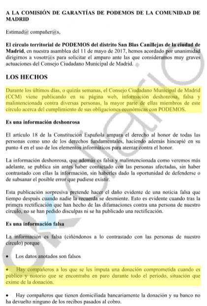 Podemos Madrid señala como morosos en su web a cargos críticos y publica sus nombres y su deuda