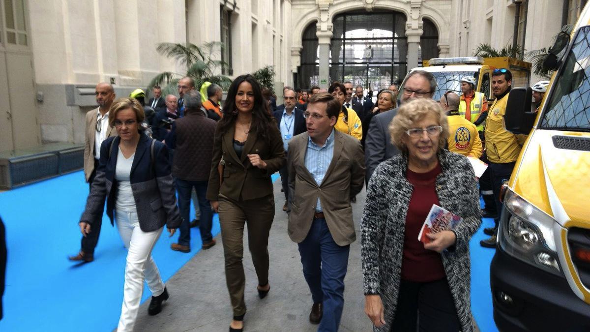 Los portavoces de PSOE (Causapié), Ciudadanos (Villacís), PP (Almeida) y la alcaldesa este viernes. (Foto: TW)