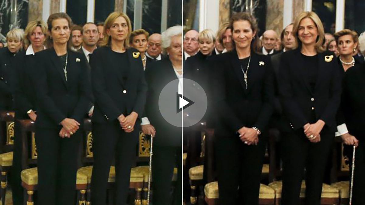 Las infantas Elena y Cristina al ver a don Felipe y doña Letizia (i) y al ver a don Juan Carlos y doña Sofía (d). (Foto: EFE)