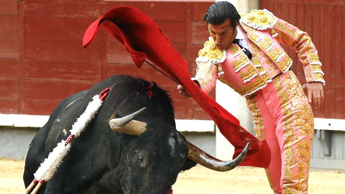 David Mora durante la faena a su primer toro (Foto: Efe).