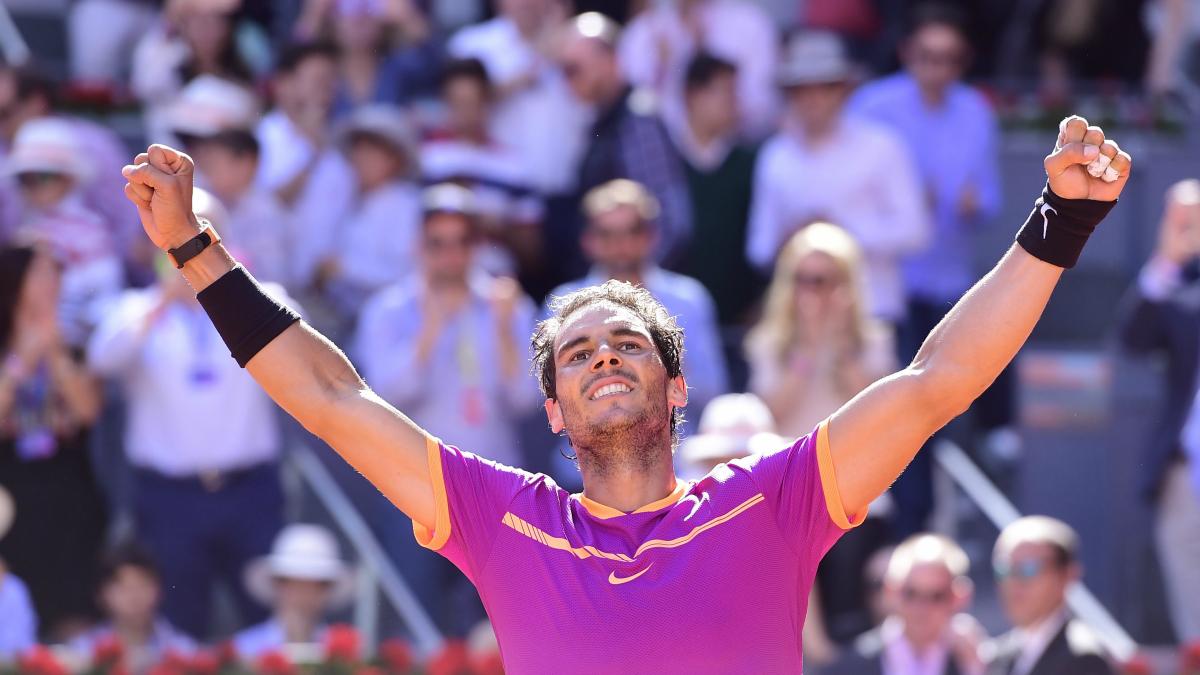 Nadal celebra su triunfo ante Djokovic. (AFP)