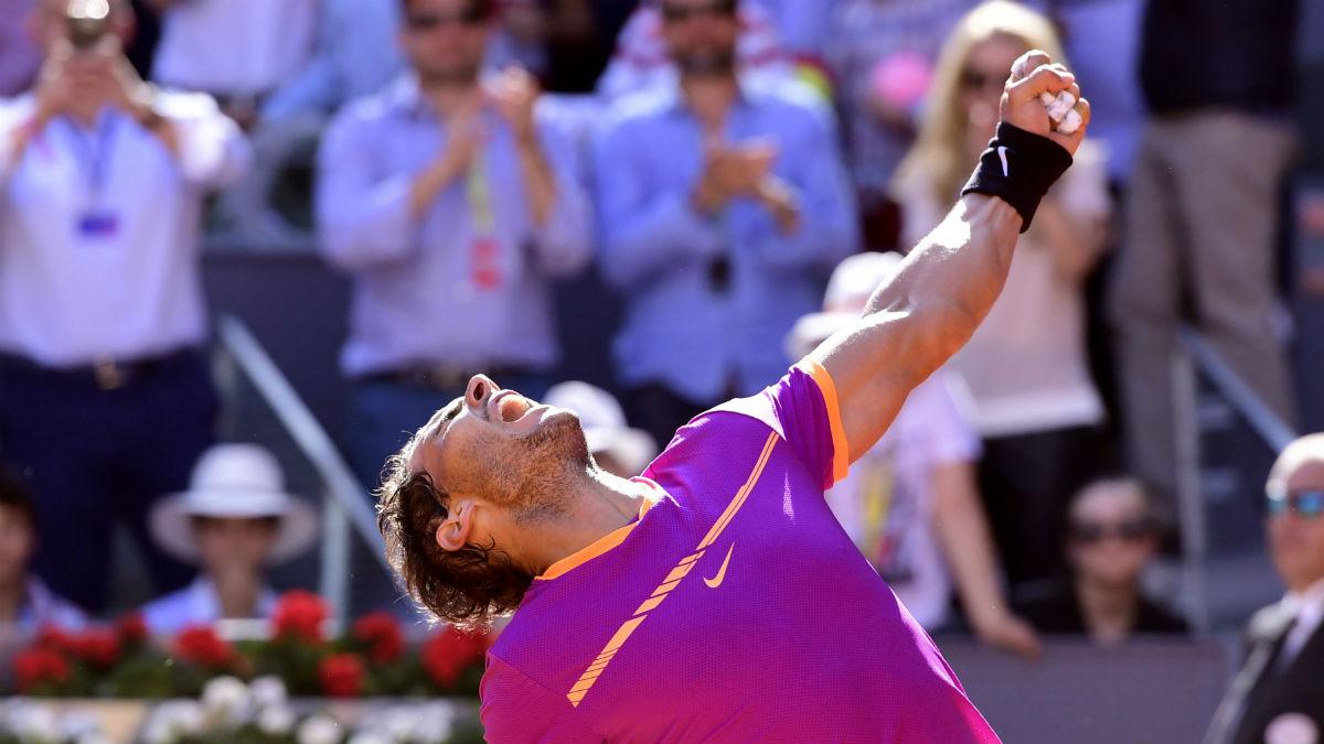 Rafa Nadal celebra la clasificación para la final del Mutua Madrid Open. (AFP)