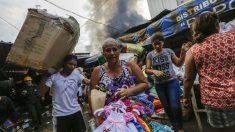 Incendio en el mayor mercado de Nicaragua. (AFP)