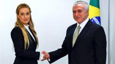 Lilian Tintoti, esposa de Leopoldo López, junto al presidente de Brasil, Michel Temer.
