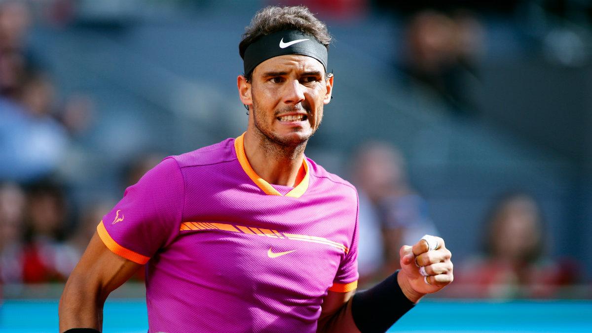 Rafa Nadal celebra un punto ante Thiem. (AFP)