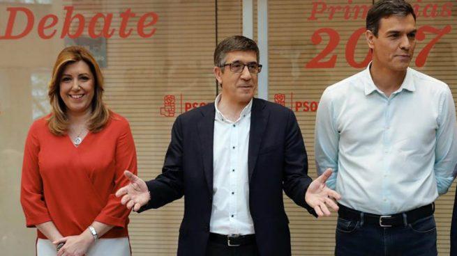 PSOE - Susana Díaz, Patxi López y Pedro Sánchez, candidatos a las primeras del PSOE, antes de comenzar el debate. Foto: EFe