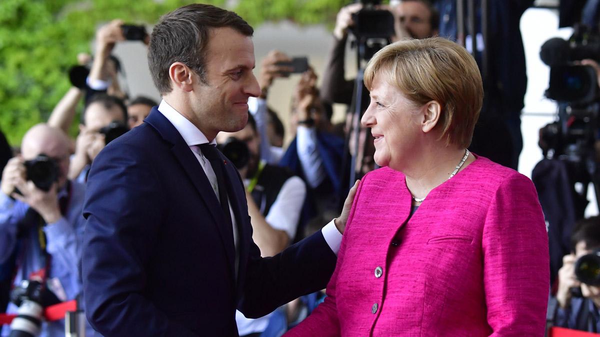 Emmanuel Macron y Angela Merkel (Foto: AFP).