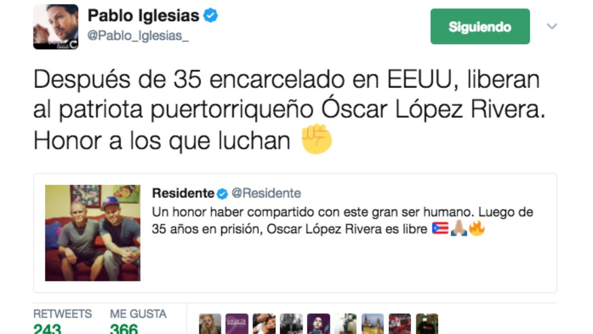 El mensaje publicado por Pablo Iglesias en la red social Twitter.