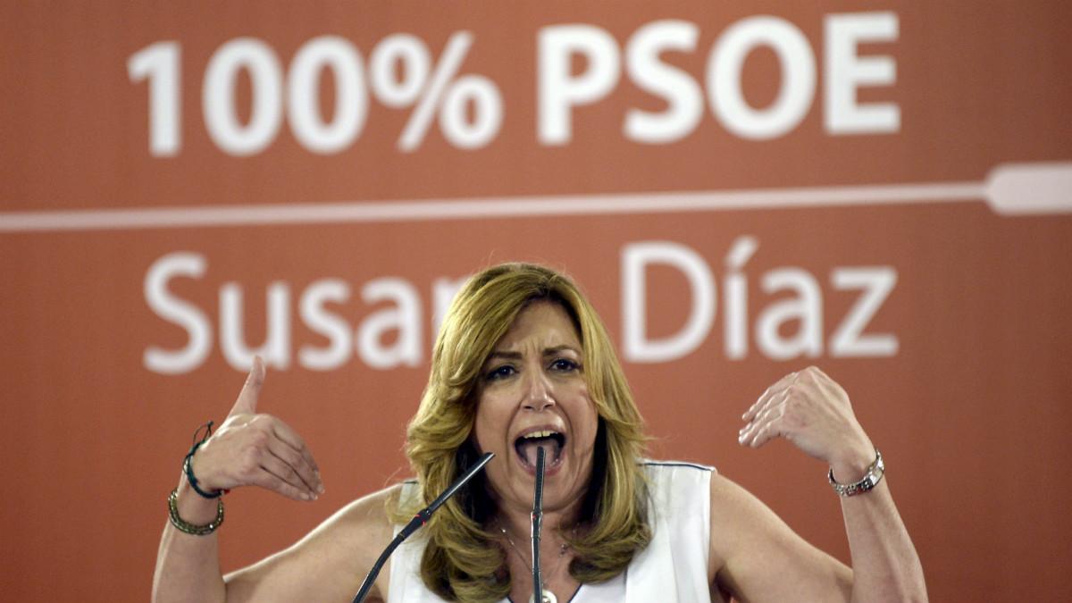 La aspirante a la Secretaría General del PSOE y presidenta andaluza, Susana Díaz, durante el acto con militantes celebrado en Valladolid. (Foto:EFE)