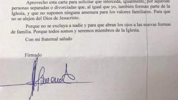 Detalle de la carta del cofrade Gimeno al Papa Francisco.