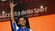 Gaviria celebra su tercera victoria en el Giro de Italia. (AFP)