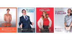"""El Salón Erótico de Madrid ha lanzado una campaña publicitaria en la que aparecen varios líderes de los principales partidos políticos de nuestro país en actitud provocativa y libidinosa, bajo el lema """"te vamos a f@llar"""" (Foto: Twitter)"""
