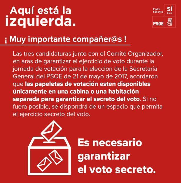"""Los pedristas dudan de que haya libertad de voto: exigen votar """"únicamente"""" en """"habitación o cabina"""""""