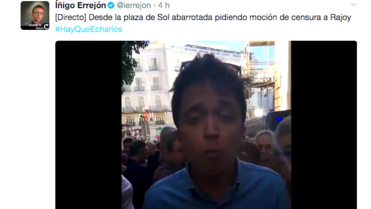 El vídeo emitido por Íñigo Errejón «desde un rincón de la Puerta del Sol».