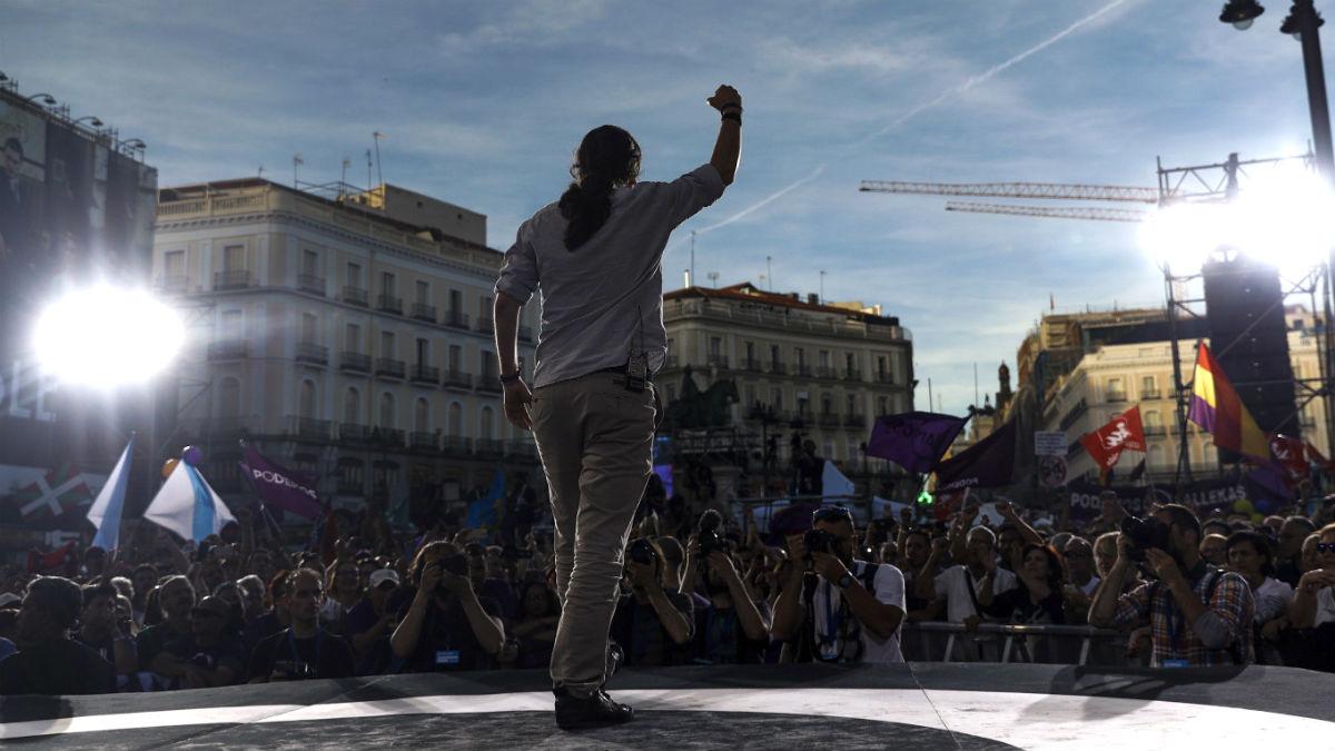 Pablo Iglesias, durante un acto celebrado en la Puerta del Sol.