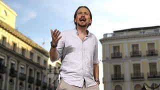 El líder de Podemos, Pablo Iglesias, durante el acto celebrado en la Puerta del Sol.