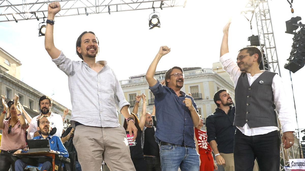 Echenique, Iglesias, Domènech y Monedero en la Puerta del Sol (Foto: Efe).
