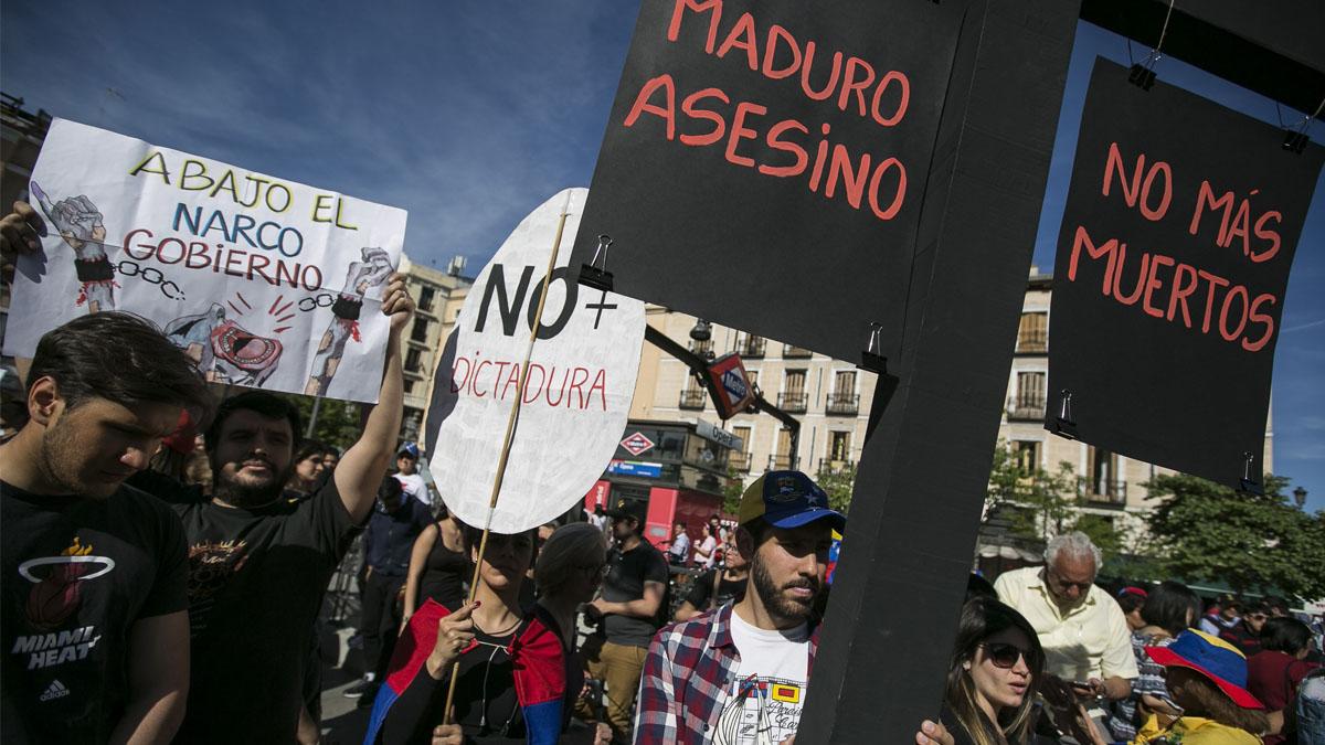 Opositores venezolanos se manifiestan en Madrid (Foto: EFE)