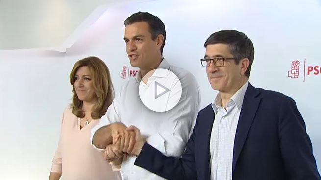 Un Sánchez pletórico posa con una abatida Susana y un impasible López