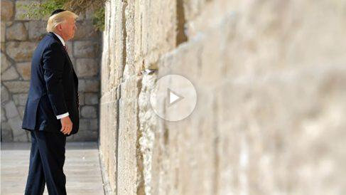 El presidente de EEUU, Donald Trump, ante el Muro de las lamentaciones de Jerusalén. (AFP)