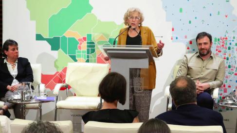 La regidora de Ahora Madrid presentando esta semana un plan de reequilibrio territorial. (Foto: Madrid)