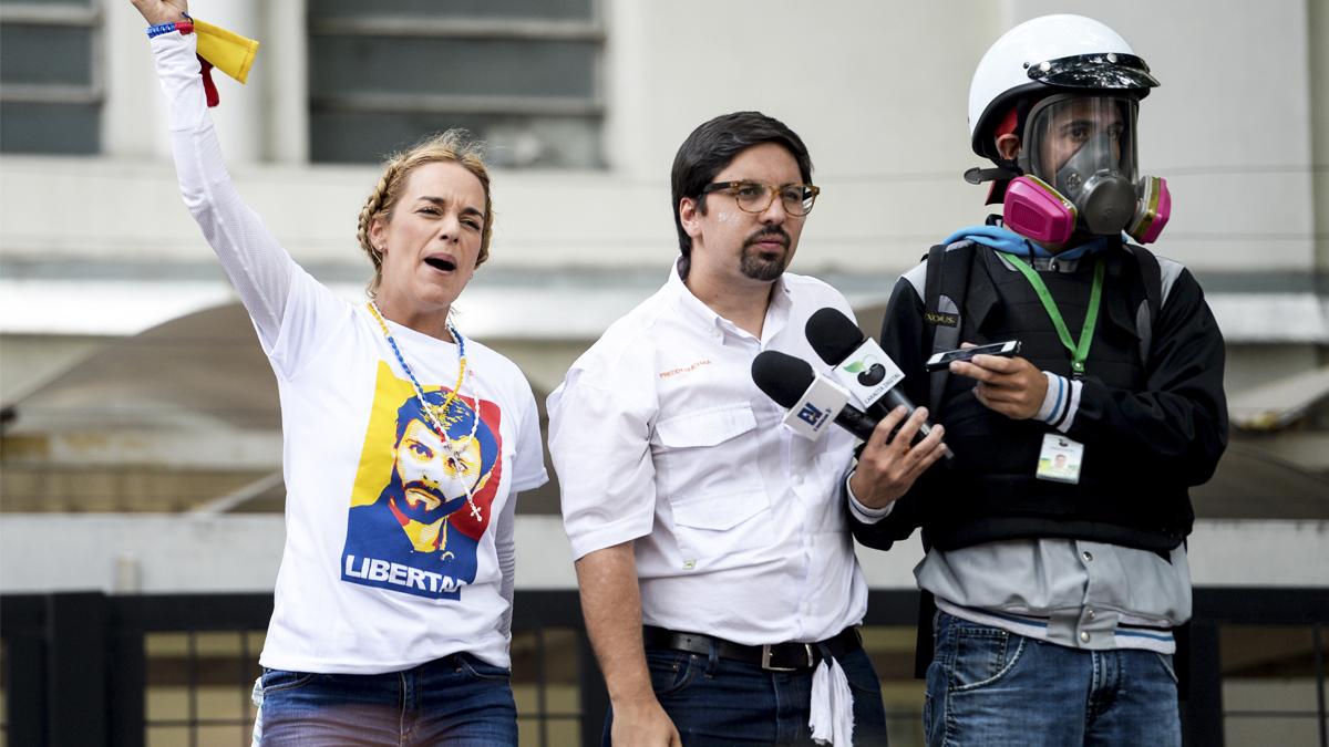 Lilian Tintori y Freddy Guevara. (Foto: AFP)