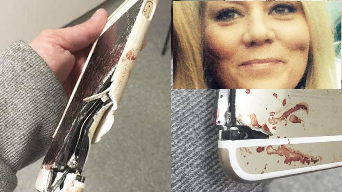 Así quedó el iPhone que salvó la vida a Lisa Bridgett en el atentado de Manchester. (Fotos: Facebook)