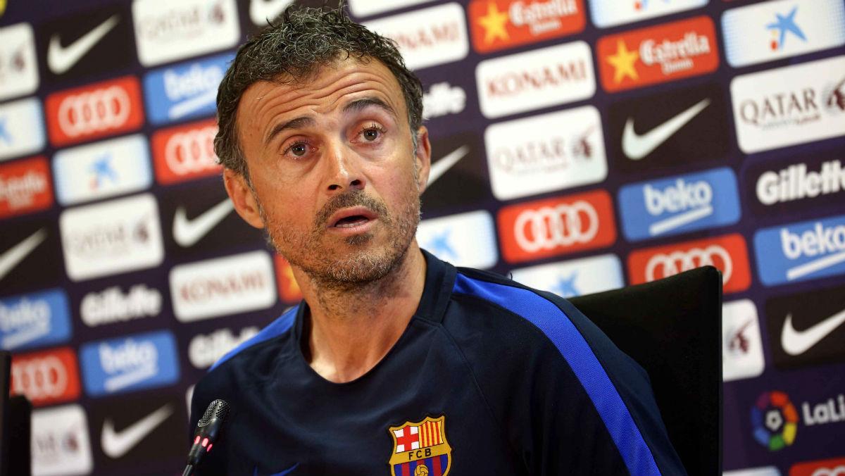 Luis Enrique durante una rueda de prensa con el Barcelona. (EFE)