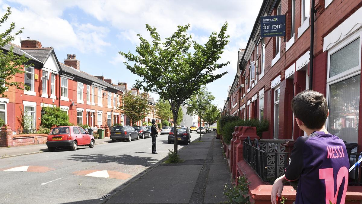 Calle donde vivía Salman Abedi, el terrorista de Manchester. (Foto: Getty)