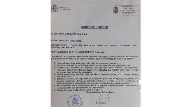 Una comisaría de San Blas va por libre: emite una alerta interna de atentado y la Policía la desautoriza
