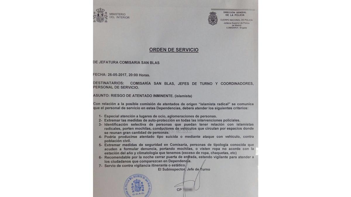 Aviso emitido por la comisaría de San Blas.