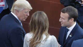 Donald Trump y Emmanuel Macron en el G7 (Foto: AFP)
