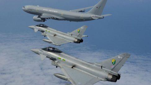 Aviones Typhoon británicos.