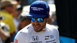 Fernando Alonso, durante las 500 Millas de Indianápolis. (AFP)