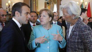Emmanuel Macron, Angela Merkel y Christine Lagarde en el G7 en Taormina (Foto: AFP)