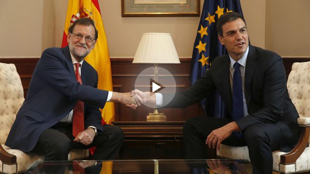 Mariano Rajoy y Pedro Sánchez se reúnen en el Congreso. (Foto: EFE)