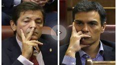 Pedro Sánchez y Javier Fernández durante el debate de investidura de Mariano Rajoy (EFE).