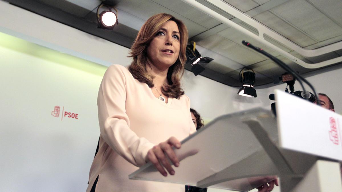 Susana Díaz comparece ante la prensa tras los resultados de las primarias del PSOE. (Foto: Francisco Toledo)