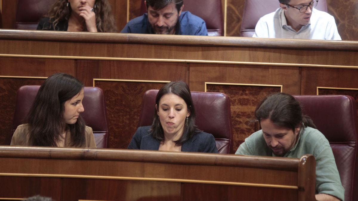 Iglesias, con Montero, este miércoles en el Congreso.
