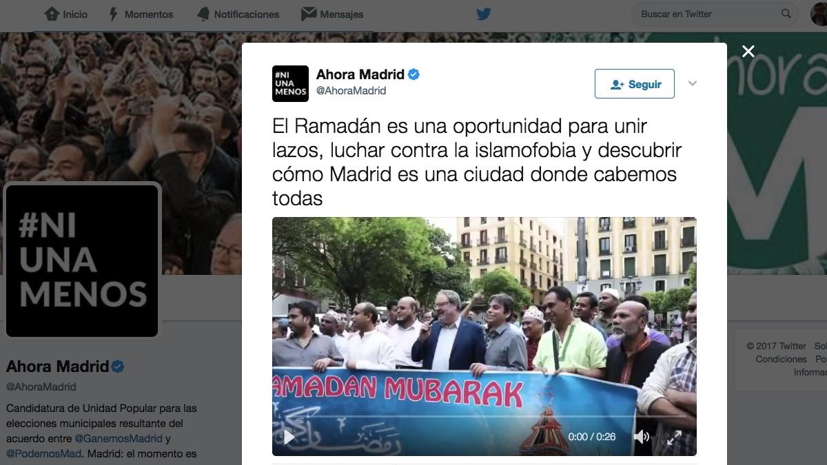 Tuit de Ahora Madrid apoyando el Ramadán.