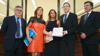 El portavoz del PP en el Congreso, Rafael Hernando (2d), junto a los diputados Arturo García (i), Alicia Sánchez-Camacho (2i), Patricia Reyes y José Antonio Bermúdez de Castro. (Foto: EFE)
