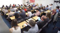 Sala de prensa del PSOE. (Foto: PSOE)