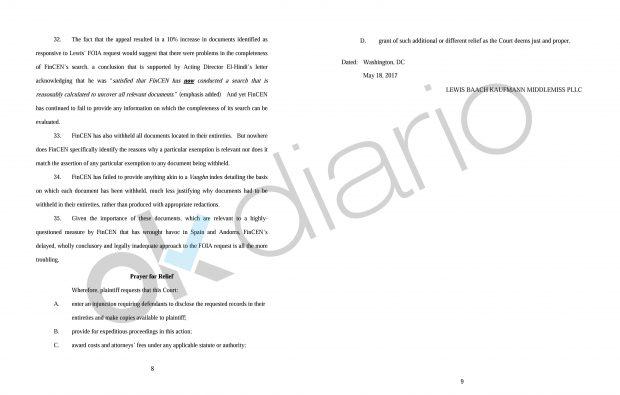 Demanda presentada por los dueños de Banca Privada de Andorra en EE.UU.