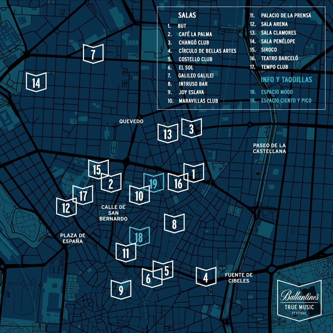 Plano de los locales del Ballantine's True Music Festival en el centro de Madrid.
